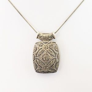 Jewelry - 925 Marcasite Sliding Pendant Necklace